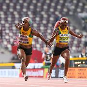 Dina Asher-Smith (Great Britain), Shelly-Ann Fraser-Pryce (Jamaica), Elaine Thompson (Jamaica), Women's 100 Metres Final, during the 2019 IAAF World Athletics Championships at Khalifa International Stadium, Doha, Qatar on 29 September 2019.