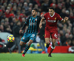 Sofiane Boufal of Southampton (L) and Trent Alexander-Arnold of Liverpool in action - Mandatory by-line: Jack Phillips/JMP - 18/11/2017 - FOOTBALL - Anfield - Liverpool, England - Liverpool v Southampton - English Premier League