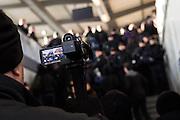 Magdeburg | 18 Jan 2014<br /> <br /> ACHTUNG BESONDERE HONORARKONDITIONEN!<br /> <br /> Am Samstag (19.01.2014) marschierten etwa 1000 Neonazis bei einem &quot;Gedenkmarsch&quot; durch Magdeburg, um der Bombardierungen der Stadt im 2. Weltkrieg zu &quot;gedenken&quot;.<br /> Hier: Beamte der Bundespolizei filmen Neonazis, die am Hauptbahnhof der Stadt ankommen.<br /> <br /> &copy;peter-juelich.com<br /> <br /> [No Model Release | No Property Release]
