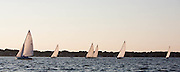 Argument, Vindex, Lucky Pierre, Osprey, Surprise, and Shona sailing in the Herreshoff S Class division of the Newport Yacht Club Tuesday night racing series.