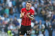 Southampton midfielder Pierre-Emile Hojbjerg (23) applauds the fans after the Premier League match between Brighton and Hove Albion and Southampton at the American Express Community Stadium, Brighton and Hove, England on 30 March 2019.