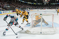 KELOWNA, CANADA - MAY 13:  Rourke Chartier #14 of Kelowna Rockets skates behind the net with the puck against the Brandon Wheat Kings on May 13, 2015 during game 4 of the WHL final series at Prospera Place in Kelowna, British Columbia, Canada.  (Photo by Marissa Baecker/Shoot the Breeze)  *** Local Caption *** Rourke Chartier;