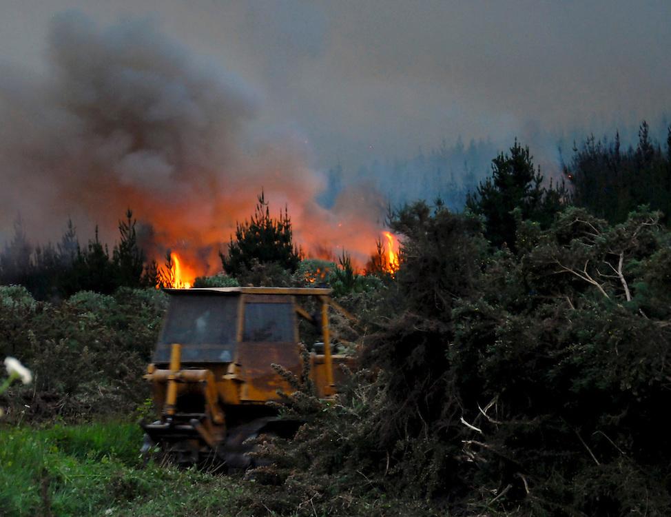 A bulldozer works to protect the Mokonuiarangi Marae from flames in burning pine forest at Horeke, near Kaikohe, Northland, New Zealand, Monday November 21, 2011. Credit:SNPA / Malcolm Pullman