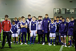 EDINBURGH, SCOTLAND - Friday, November 4, 2016: Scotland players look dejected as they miss out on winning the trophy after the Under-16 2016 Victory Shield at ORIAM. (Pic by David Rawcliffe/Propaganda)
