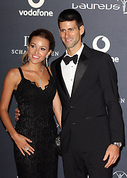 Jelena Ristic and Novak Djokovic arrives at the Laureus Sport Awards held at the Queen Elizabeth II Centre, London, Monday February 6, 2012. Photo By i-Images
