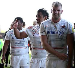 Saracens Mako Vunipola gives a thumbs up to the crowd - Photo mandatory by-line: Robbie Stephenson/JMP - Mobile: 07966 386802 - 16/05/2015 - SPORT - Rugby - Oxford - Kassam Stadium - London Welsh v Saracens - Aviva Premiership