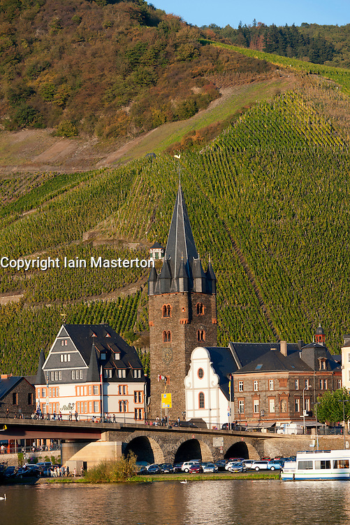 Afternoon view of Bernkastel-Kues village on River Mosel in Mosel valley in Germany