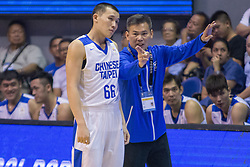 November 27, 2017 - Cubao, Quezon City, Philippines - Coach Chun-San Chou of Chinese Taipei giving instruction to Kai-Yan Lee. Kai-Yan Lee scored a total of 6 points with 2 out of 9 field goals.Gilas Pilipinas defended their home against Chinese Taipei. Game ended at 90 - 83. (Credit Image: © Noel Jose Tonido/Pacific Press via ZUMA Wire)