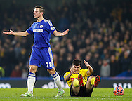 Cesar Azpilicueta of Chelsea conceeds a free kick by fouling Fernando Forestieri of Watford during the FA Cup match at Stamford Bridge, London<br /> Picture by David Horn/Focus Images Ltd +44 7545 970036<br /> 04/01/2015