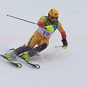 Winter Olympics, Vancouver, 2010.Julien Cousineau, Canada,  in action during the Alpine Skiing, Men's Slalom at Whistler Creekside, Whistler, during the Vancouver Winter Olympics. 27th February 2010. Photo Tim Clayton