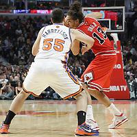 12 March 2012: New York Knicks forward Josh Harrellson (55) defends on Chicago Bulls center Joakim Noah (13) during the Chicago Bulls 104-99 victory over the New York Knicks at the United Center, Chicago, Illinois, USA.