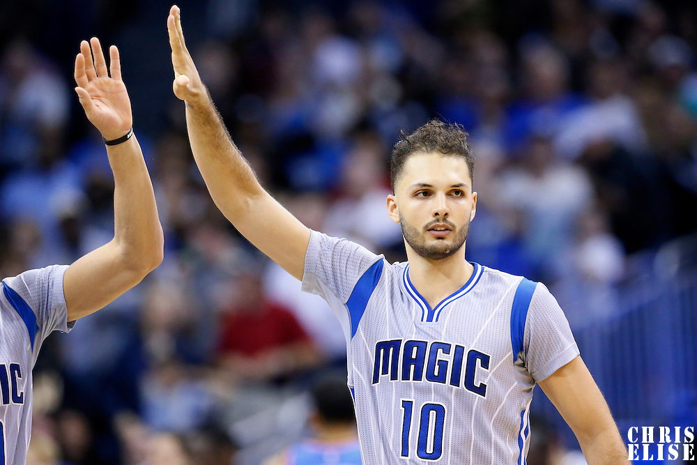30 October 2015: Orlando Magic guard Evan Fournier (10) is seen during the Oklahoma City Thunder 139-136 double overtime victory over the Orlando Magic, at the Amway Center, in Orlando, Florida, USA.