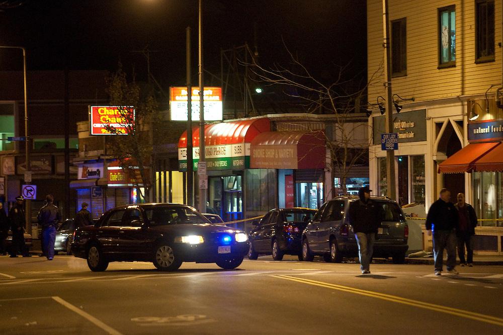 Boston, MA 11/21/2010.Boston Police officers investigate a shooting inside the Same Old Place restaurant in Jamaica Plain on Sunday evening..Alex Jones / www.alexjonesphoto.com