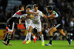 Chris Wyles of Saracens takes on the Harlequins defence - Photo mandatory by-line: Patrick Khachfe/JMP - Mobile: 07966 386802 12/09/2014 - SPORT - RUGBY UNION - London - Twickenham Stoop - Harlequins v Saracens - Aviva Premiership