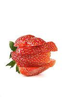 Sliced strawberry on white background