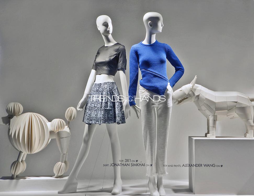 left: top 3x1, skirt JONATHAN SIMKAHAI; right ALEXANDER WANG