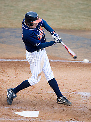 Virginia Cavaliers infielder Patrick Wingfield (8)at bat against George Washington.  The Virginia Cavaliers Baseball Team defeated the George Washington University Colonials 15-2 to complete a sweep of the three game series on February 19, 2007 at Davenport Field, Charlottesville, VA.