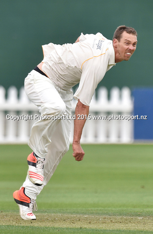 Brent Arnel of the Firebirds bowls during the Plunket Shield cricket match between the Wellington Firebirds and Auckland Aces at the Basin Reserve in Wellington on Wednesday the 23rd March 2016. Copyright Photo by Marty Melville / www.Photosport.nz