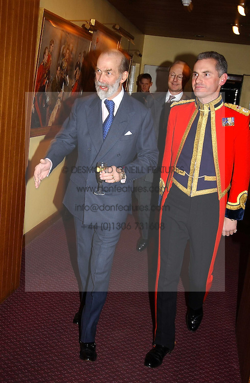 Left to right, HRH PRINCE MICHAEL OF KENT and and COL.VALENTINE WOYKA Commanding officer of the Household Cavalry at a reception to support The Hyde Park Appeal held in the Officers Mess, Household Cavalry Mounted Regiment, Hype Park Barracks, Knightsbridge, London SW1 on 30th November 2004.<br />