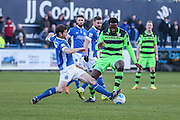 Forest Green Rovers Manny Monthe(3) runs forward during the FA Trophy match between Macclesfield Town and Forest Green Rovers at Moss Rose, Macclesfield, United Kingdom on 4 February 2017. Photo by Shane Healey.