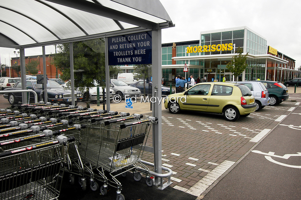 Parking and trolleys at Morrisons supermarket, Freemans Park, Leicester, England, United Kingdom.