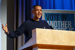 "© Licensed to London News Pictures. 28/05/2016. London, UK. Labour MP CLIVE LEWIS speaking at ""Another Europe is Possible"" rally at UCL Institute of Education in London, campaigning for a remain vote at the upcoming EU referendum.  Speakers at the event include Shadow Chancellor John McDonnell, former Greek Finance Minister Yanis Varoufakis and Green Party MP Caroline Lucas. Photo credit: Tolga Akmen/LNP"