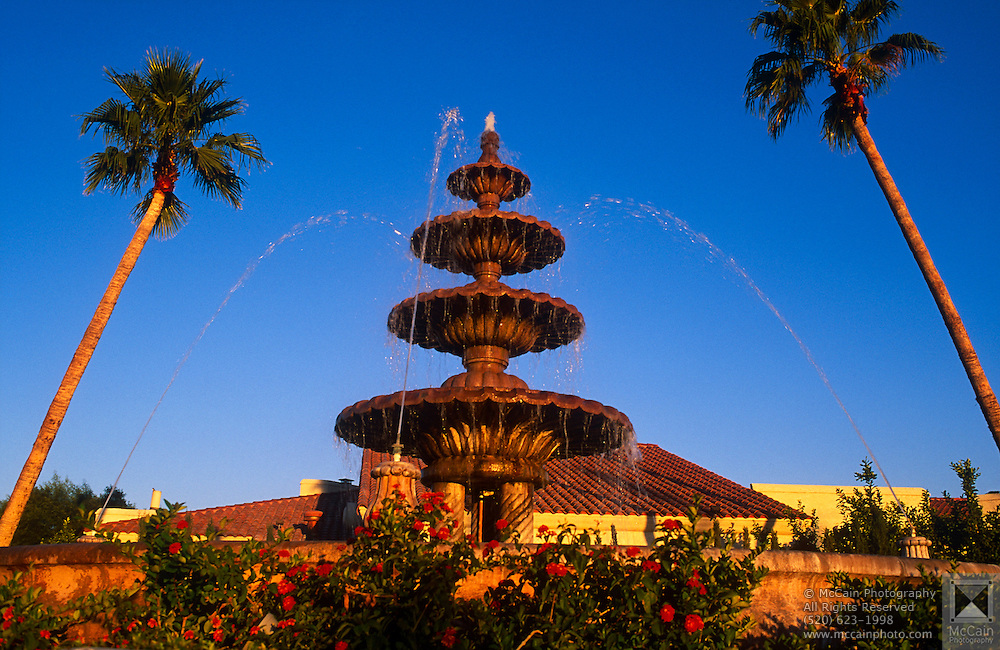 Fountain at resort with rose bushes in foreground and palm trees in background, Scottsdale, Arizona..Subject photograph(s) are copyright Edward McCain. All rights are reserved except those specifically granted by Edward McCain in writing prior to publication...McCain Photography.211 S 4th Avenue.Tucson, AZ 85701-2103.(520) 623-1998.mobile: (520) 990-0999.fax: (520) 623-1190.http://www.mccainphoto.com.edward@mccainphoto.com