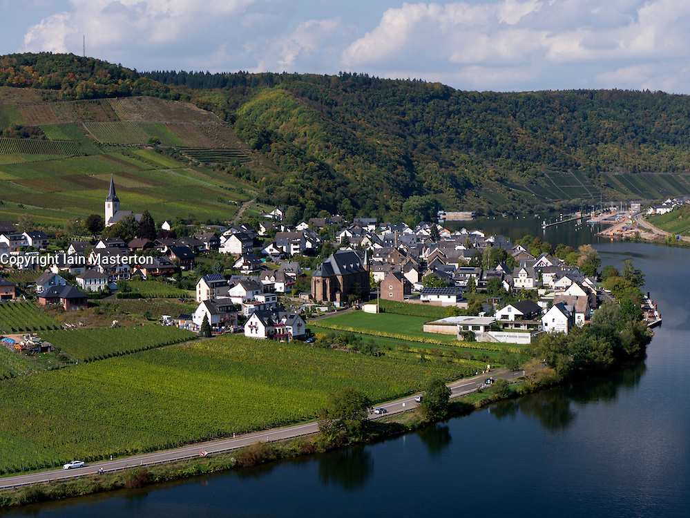 View of village of Ellenz and Mosel River in Mosel Valley Rhineland Germany