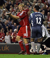 "Photo: Paul Thomas.<br /> Liverpool v Newcastle United. The Barclays Premiership. 20/09/2006.<br /> <br /> Dirk Kuyt of Liverpool appeals for a Newcastle ""hand ball"" inside the box."