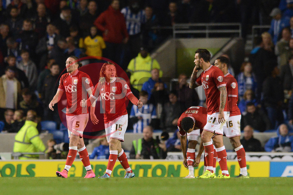 Luke Freeman of Bristol City cuts a dejected figure as Bristol City concede a goal - Mandatory byline: Dougie Allward/JMP - 07966 386802 - 20/10/2015 - FOOTBALL - American Express Community Stadium - Brighton, England - Brighton v Bristol City - Sky Bet Championship