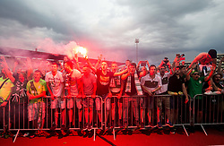 Supporters of Olimpija celebrate after they became Slovenian National Champion 2018 after the football match between NK Domzale and NK Olimpija Ljubljana in 36th Round of Prva liga Telekom Slovenije 2017/18, on May 27, 2018 in Sports park Domzale, Domzale, Slovenia. Photo by Vid Ponikvar / Sportida
