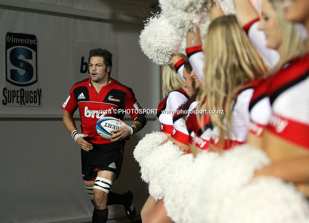Richie McCaw leads the team out the tunnel. Super Rugby game between the Crusaders and the Blues. The new AMI Christchurch Stadium at Rugby League Park, Saturday 19 May 2012. Photo : Joseph Johnson / photosport.co.nz
