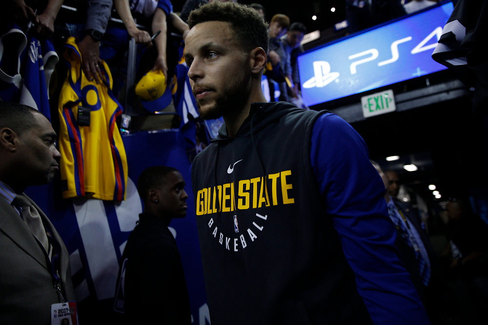 during warm up before an NBA game between the Warriors and Oklahoma City Thunder at the Oracle Arena, Tuesday, Feb. 6, 2018, in Oakland, Calif.