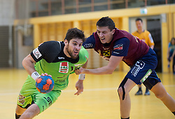 09.12.2014, Sporthalle, Leoben, AUT, OeHB-Cup Achtelfinale, Union JURI Leoben vs SG INSIGNIS Handball West Wien, im Bild Markus Wagesreiter (West Wien), Sasa Barisic Jaman(Leoben) // durning the OeHB-Cup, Round of the last sixteen, between, Union JURI Leoben vs SG INSIGNIS Handball West Wien at the Sport Hall, Leoben, Austria on 2014/12/09, EXPA Pictures © 2014, PhotoCredit: EXPA/ Dominik Angerer