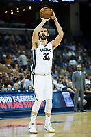 MEMPHIS, TN - OCTOBER 30:  Marc Gasol #33 of the Memphis Grizzlies shoots a three point shot during a game against the Charlotte Hornets at the FedEx Forum on October 30, 2017 in Memphis, Tennessee.  NOTE TO USER: User expressly acknowledges and agrees that, by downloading and or using this photograph, User is consenting to the terms and conditions of the Getty Images License Agreement.  The Hornets defeated the Grizzlies 104-99.  (Photo by Wesley Hitt/Getty Images) *** Local Caption *** Marc Gasol