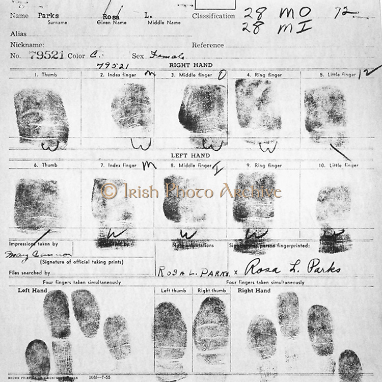 Fingerprint Card of Rosa Parks Civil Case 1147 Browder, et al v. Gayle, et. al; U.S. District Court for Middle District of Alabama, Northern (Montgomery) Division Record Group 21: Records of the District Court of the United States National Archives and Records Administration-Southeast Region, East Point, GA. 1955. Rosa Louise McCauley Parks (1813-2005), American Civil Rights activist was arrested for refusing to move from her seat on a segregated Montgomery bus on 1 December 1955.