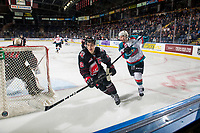 KELOWNA, CANADA - JANUARY 16:  Michael Farren #16 of the Kelowna Rockets passes the puck behind the net as Josh Brook #2 of the Moose Jaw Warriors comes in for the the check during third period on January 16, 2019 at Prospera Place in Kelowna, British Columbia, Canada.  (Photo by Marissa Baecker/Shoot the Breeze)