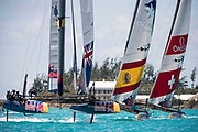 The Great Sound, Bermuda, 21st June 2017, Red Bull Youth America's Cup Finals. Race four. NZL Sailing Team, Spanish Impulse by Iberostar and Team Tilt (SUI)