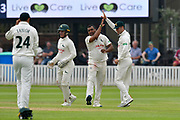 Wicket - Samit Patel of Nottinghamshire celebrates taking the wicket of Dom Bess of Somerset during the Specsavers County Champ Div 1 match between Somerset County Cricket Club and Nottinghamshire County Cricket Club at the Cooper Associates County Ground, Taunton, United Kingdom on 10 June 2018. Picture by Graham Hunt.