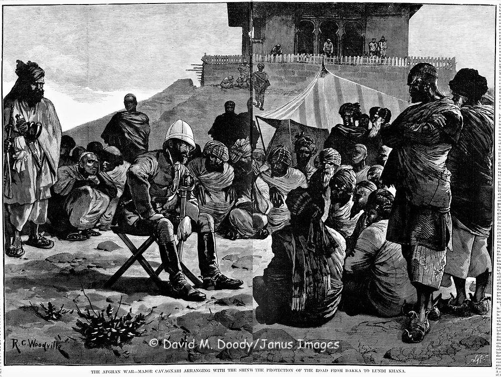 British in Afghanistan 1879 The Afghan War- Major Cavagnari arranging with the Shinw the protection of the Road from Dakka to Lundi Khana. Negotiation for security around the Khyber Pass with local Muslim leaders. Harper's Weekly 2, 1879 .