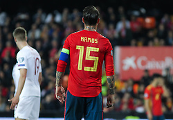 March 23, 2019 - Valencia, Valencia, Spain - Sergio Ramos of Spain in action during European Qualifiers championship, , football match between Spain and Norway, March 23th, in Mestalla Stadium in Valencia, Spain. (Credit Image: © AFP7 via ZUMA Wire)