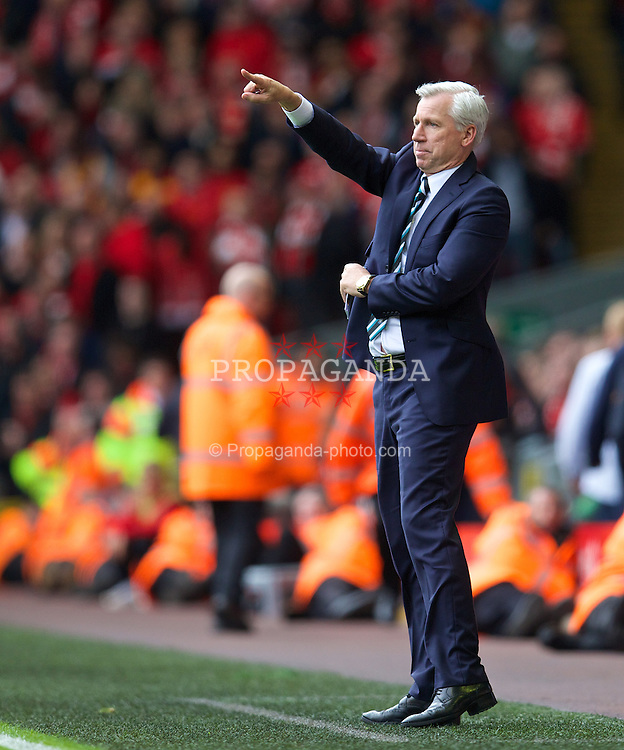 LIVERPOOL, ENGLAND - Sunday, May 11, 2014: Newcastle United's manager Alan Pardew during the Premiership match against Liverpool at Anfield. (Pic by David Rawcliffe/Propaganda)