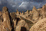 Devrent Valley, known as Imagination Valley, near Goreme in Nevsehir province, Cappadocia, Central Anatolia, Turkey. The rock formations here were made by erosion of the volcanic tuff created by ash from volcanic eruptions millions of years ago, and many resemble figures or animals, such as camels, snakes, seals and dolphins. This area forms part of the Goreme National Park and the Rock Sites of Cappadocia UNESCO World Heritage Site. Picture by Manuel Cohen