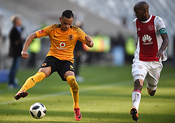 Cape Town-180512  Ajax Cape Town defender Mosa Lebusa challenges Gustavo Paez in the last game of the PSL at Cape Town stadium.photographer:Phando Jikelo/African News Agency/ANA