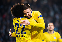 February 14, 2019 - MalmÃ, Sweden - 190214 Willian celebrate with Olivier Giroud who scored 0-2 during the Europa league match between Malmö FF and Chelsea on February 14, 2019 in Malmö..Photo: Ludvig Thunman / BILDBYRÃ…N / kod LT / 92225 (Credit Image: © Ludvig Thunman/Bildbyran via ZUMA Press)