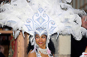 Exotic headdress worn by dancer at Dancebase in Edinburgh, Scotland