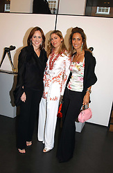 Left to right, CAVAN MAHONY, CATHERINE PREVOST and SABRINA RAMSAY at a private view of Sculptures by Richard Hudson held at Hamiltons Gallery, 13 Carlos Place, London on 10th May 2005.<br />