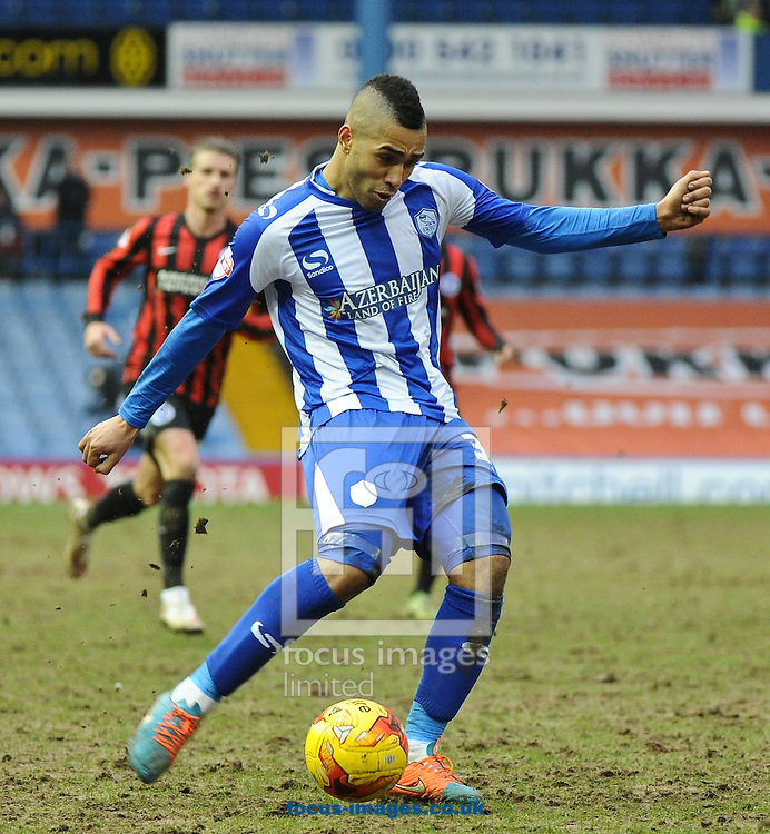 Lewis McGugan of Sheffield Wednesday shoots wide during the Sky Bet Championship match at Hillsborough, Sheffield<br /> Picture by Richard Land/Focus Images Ltd +44 7713 507003<br /> 14/02/2015