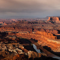 Dead Horse State Park at sunrise. The Green River rounds its way towards the Colorado.