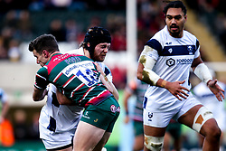 Ed Holmes of Bristol Bears is tackled by George Ford of Leicester Tigers - Mandatory by-line: Robbie Stephenson/JMP - 04/01/2020 - RUGBY - Welford Road - Leicester, England - Leicester Tigers v Bristol Bears - Gallagher Premiership Rugby